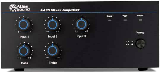 Atlas Sound AA35 - 35W Three-Channel Mixer/Amplifier