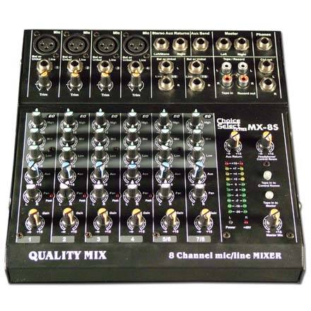 Choice Select Ultra Model MX-8S Audio Mixer 8 in XLR/1/4in LED Meter