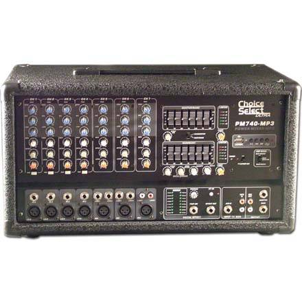 Choice Select Ultra PM-740 Powered 7 Ch. Stereo Mixer 200W RMS Per Ch.